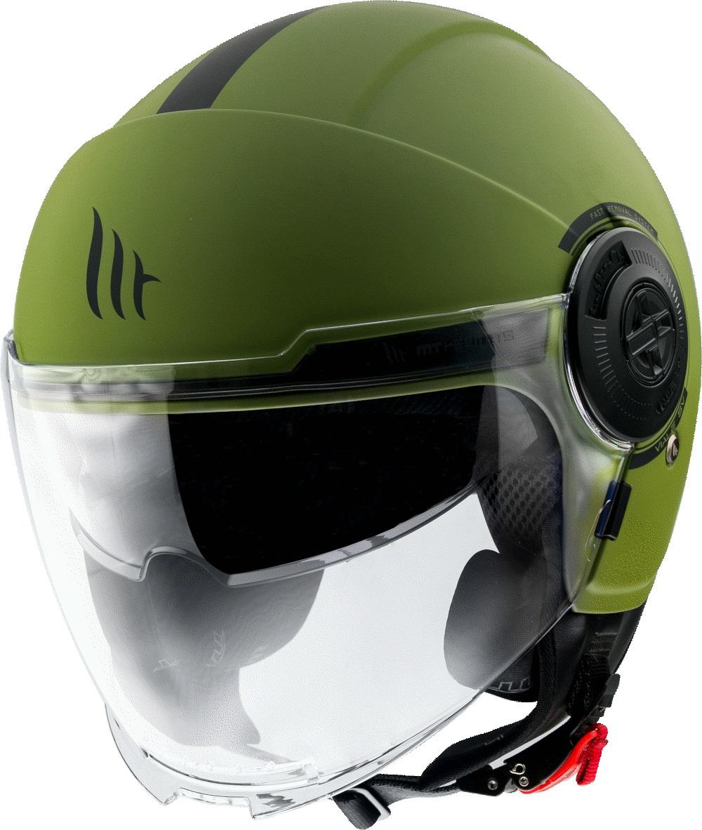 Otevřená přilba na motorku MT Viale zelená matná