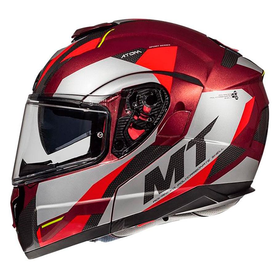 Vyklápěcí přilba na motorku MT Atom SV TRANSCEND F5 červená
