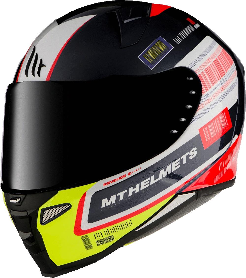 Integrální přilba na motorku MT Revenge 2 RS černo-bílo-žluto-červená