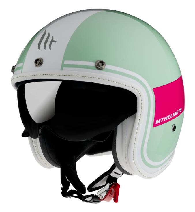 Otevřená přilba MT LeMans 2 SV Tant zeleno-bílo-růžová