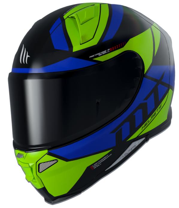 Integrální přilba na motorku MT Revenge 2 Scalpel zeleno-modro-černá
