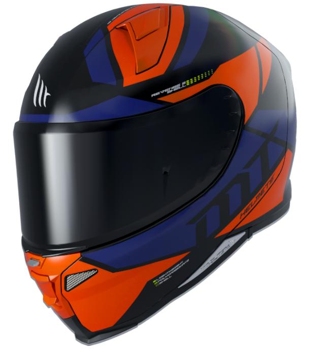 Integrální přilba na motorku MT Revenge 2 Scalpel modro-černo-oranžová
