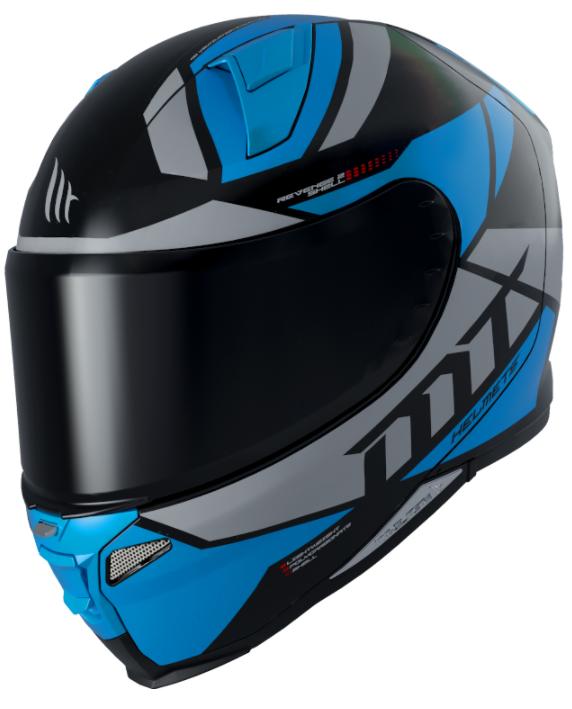 Integrální přilba na motorku MT Revenge 2 Scalpel černo-šedo-modrá