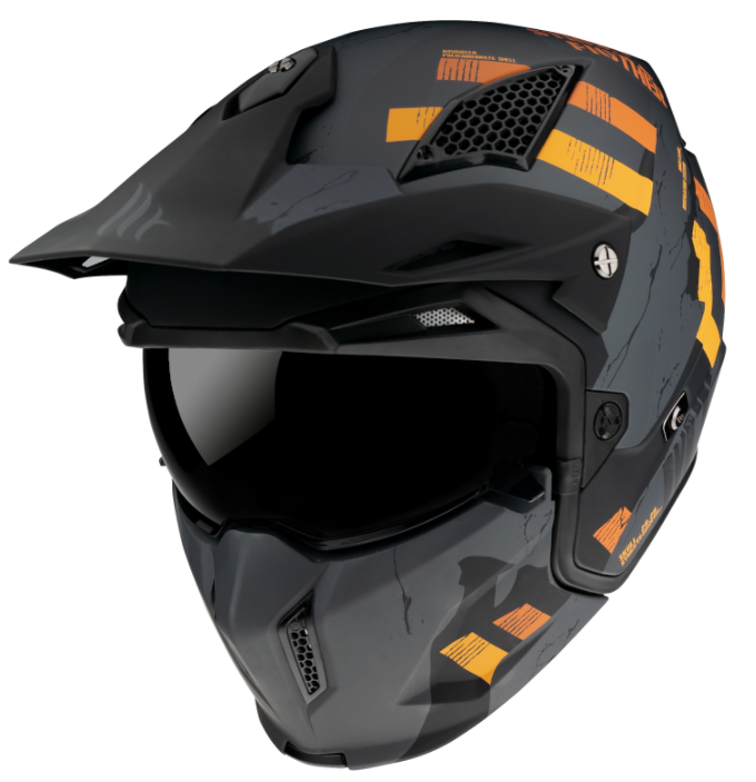 Přilba na motorku MT Streetfighter Skull 2020 šedo-oranžová