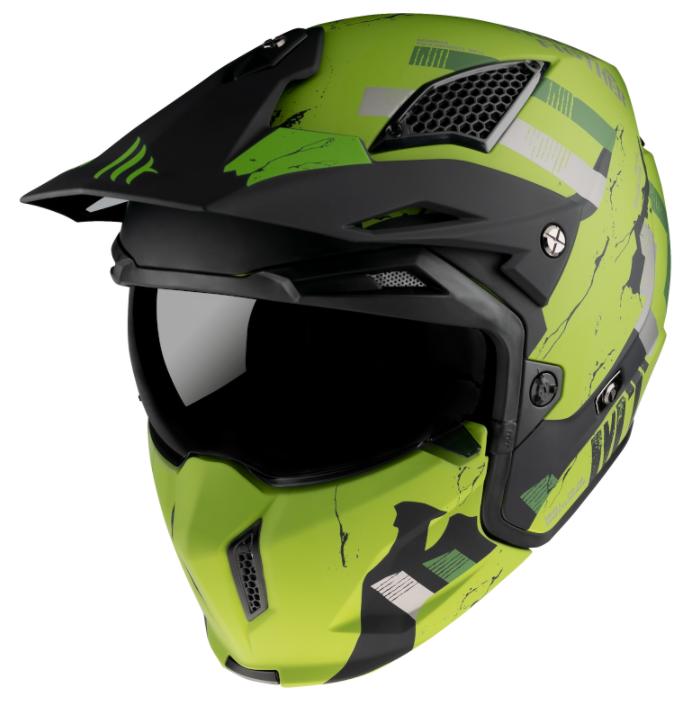 Přilba na motorku MT Streetfighter Skull 2020 zeleno-černá