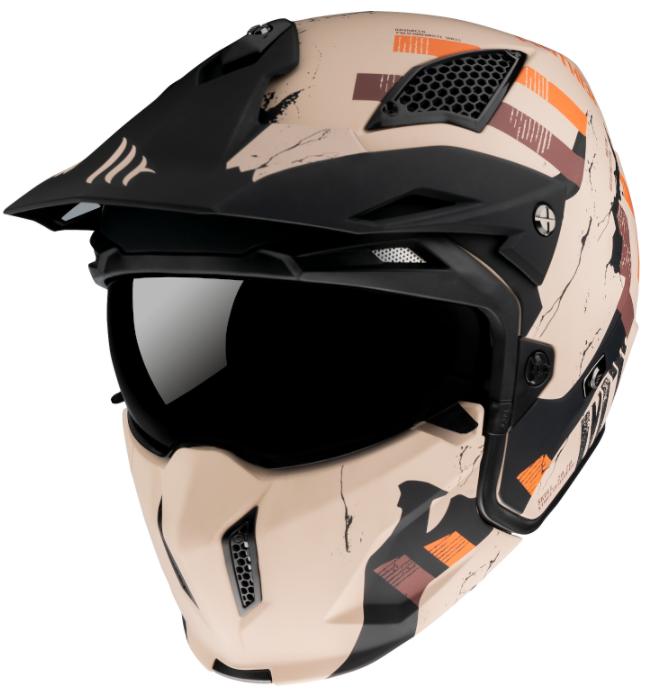 Přilba na motorku MT Streetfighter Skull 2020 oranžovo-hnědá