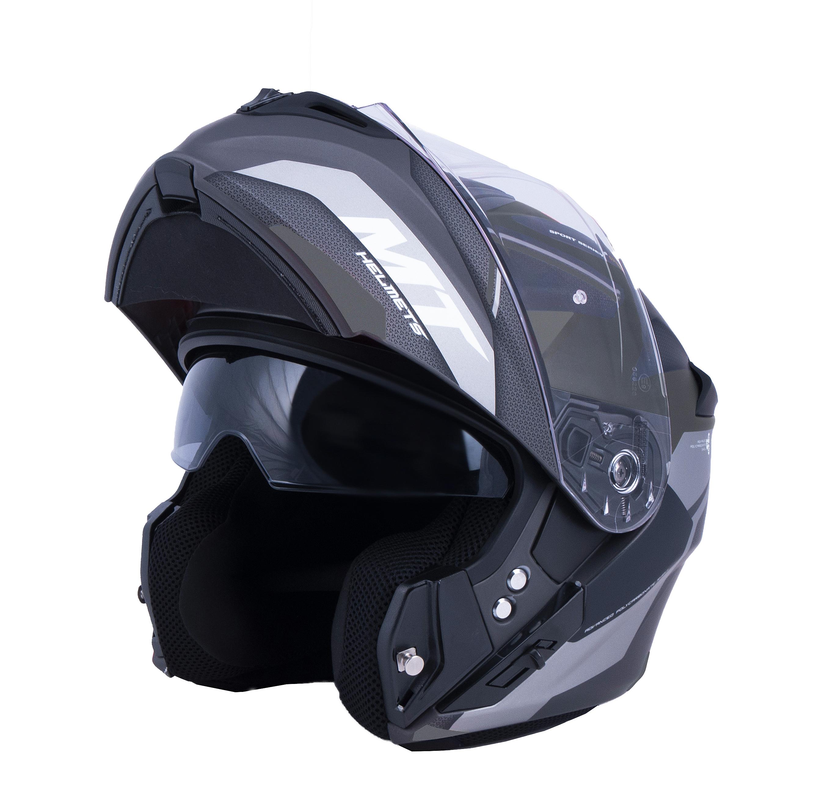 Vyklápěcí přilba na motorku MT Storm One černo-šedá