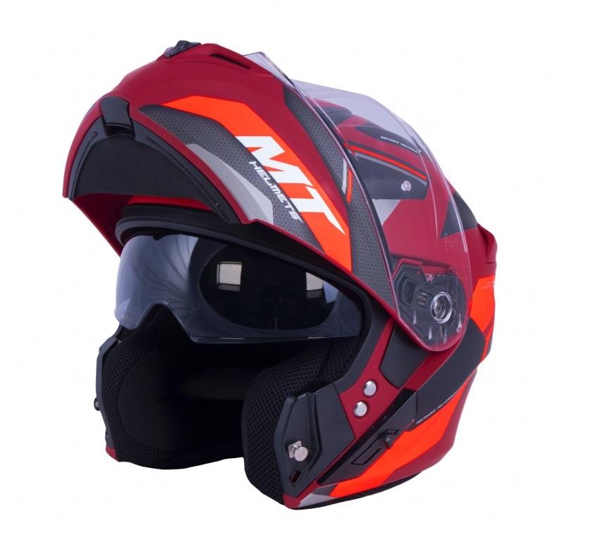 Vyklápěcí přilba na motorku MT Storm One červeno-černá