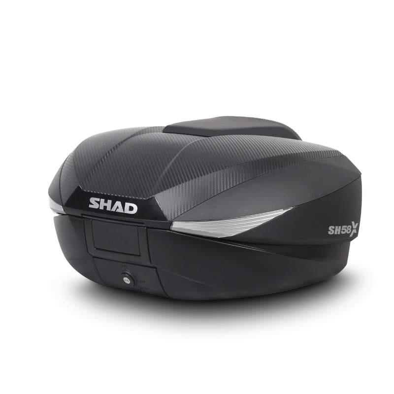 Vrchní kufr na motorku SHAD SH58X karbon (rozšiřitelný koncept) se zámkem PREMIUM