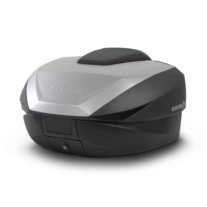 Vrchní kufr na motorku SHAD SH59X černý s hliníkovým krytem (rozšiřitelný koncept)