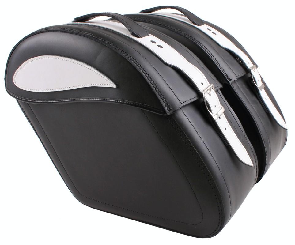 Kožené brašny na motorku se zámkem RSA-S15 černo-bílé