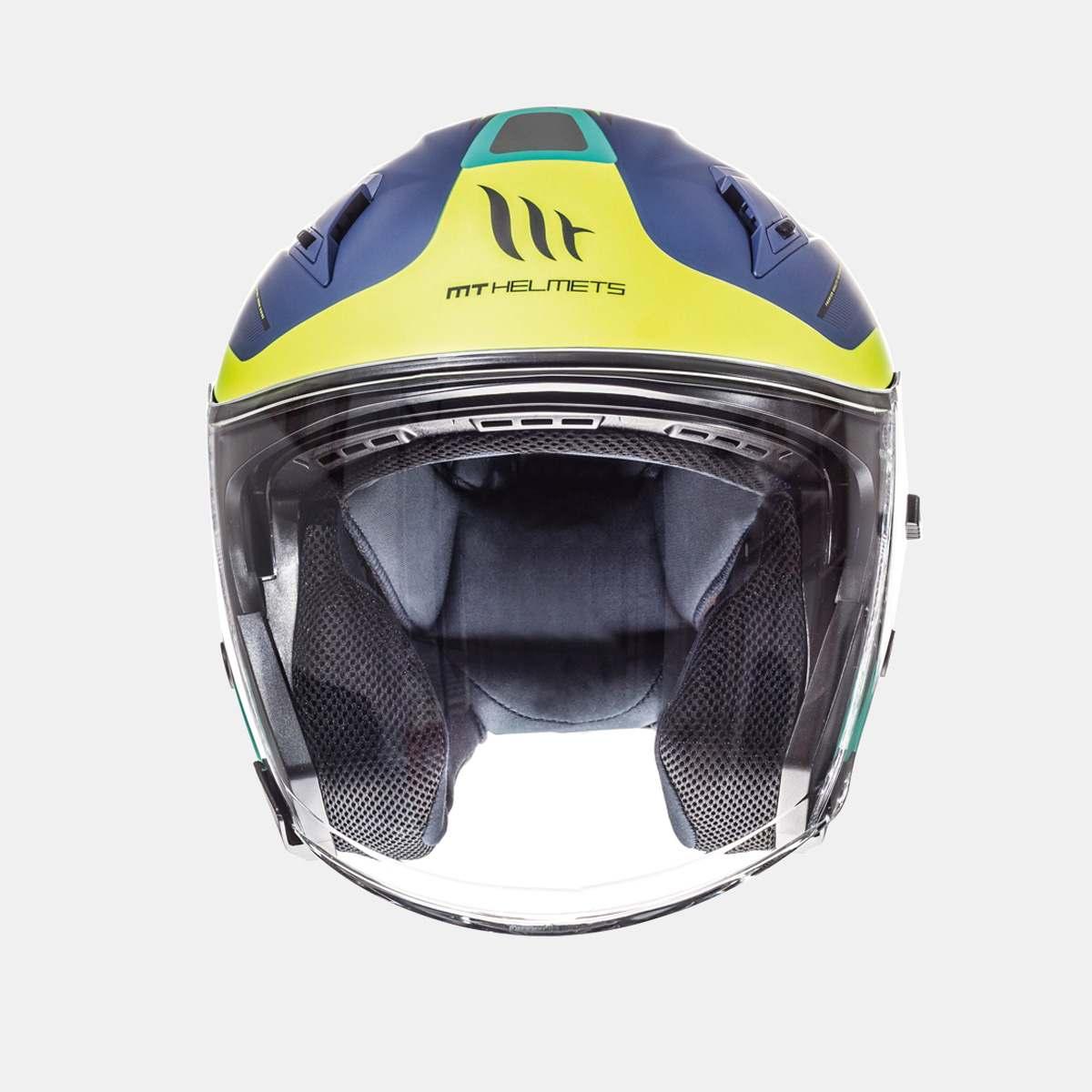 Přilba na motorku otevřená MT Avenue SV Crossroad modrá matná-fluo žlutá