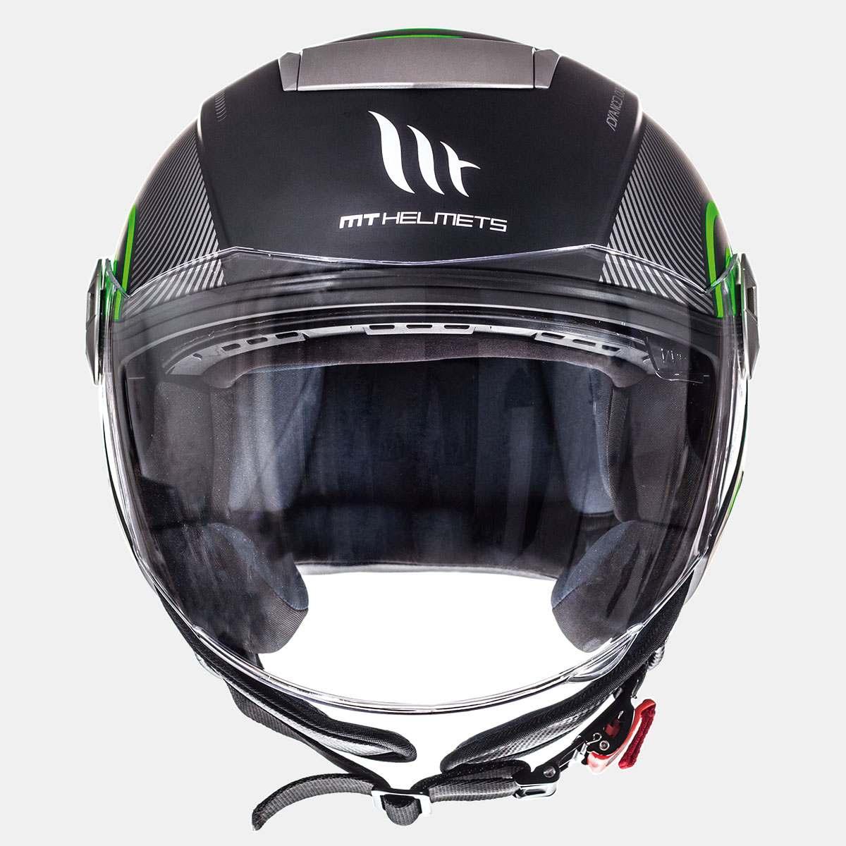 Přilba na motorku otevřená MT City Eleven SV Tron černá matná-fluo zelená