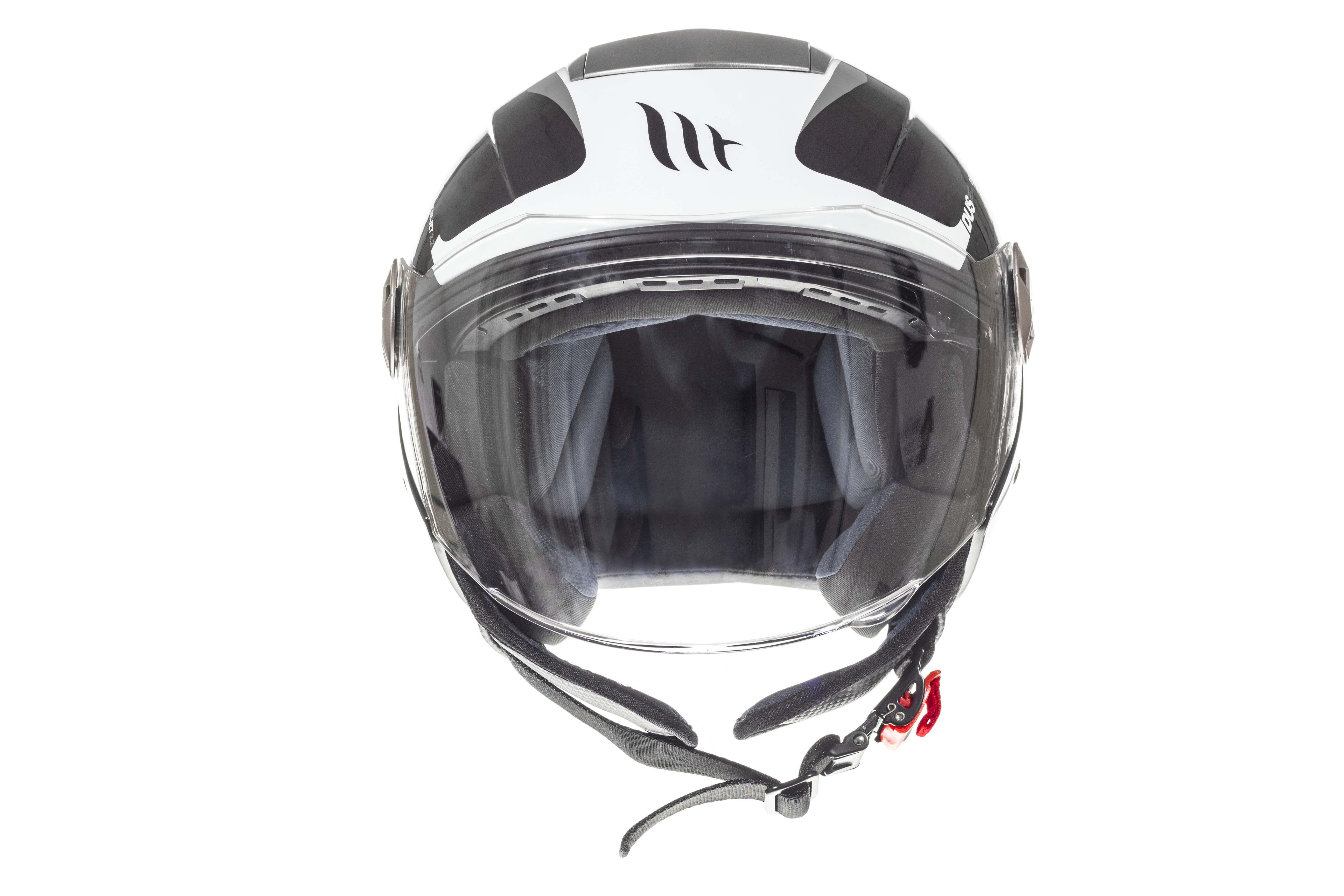 Přilba na motorku otevřená MT City Eleven SV Spark černo-bílo-šedá
