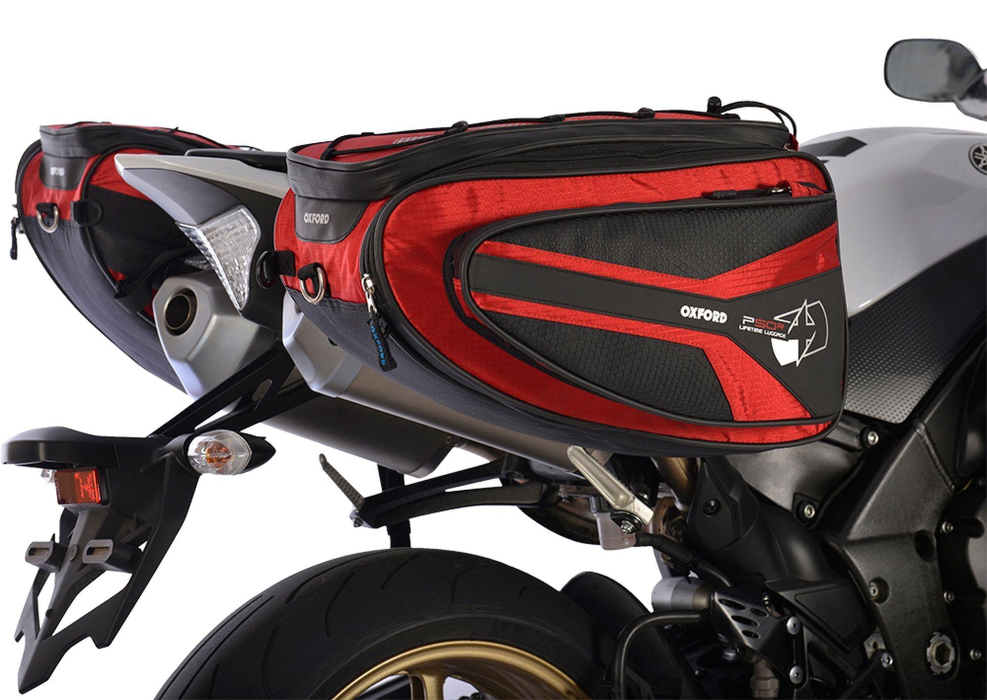 Boční brašny na motocykl Oxford P50R černo-červené