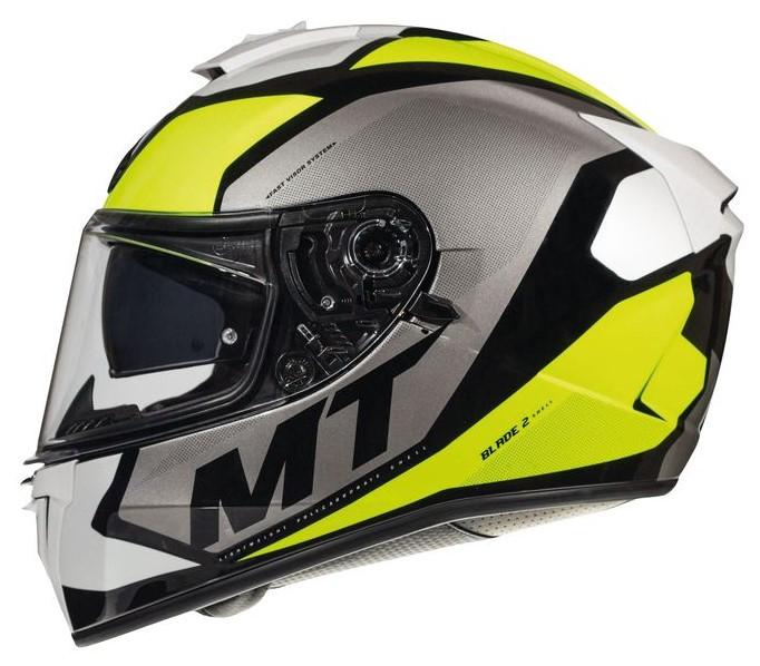 Integrální přilba na motorku MT Blade 2 SV Trick bílo-šedo-fluo žlutá