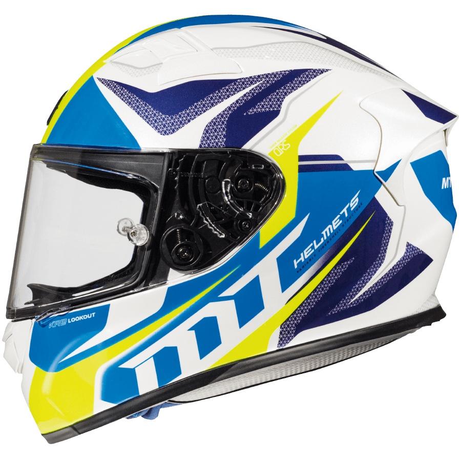 Integrální přilba na motorku MT Kre Lookout bílo-modro-fluo žlutá