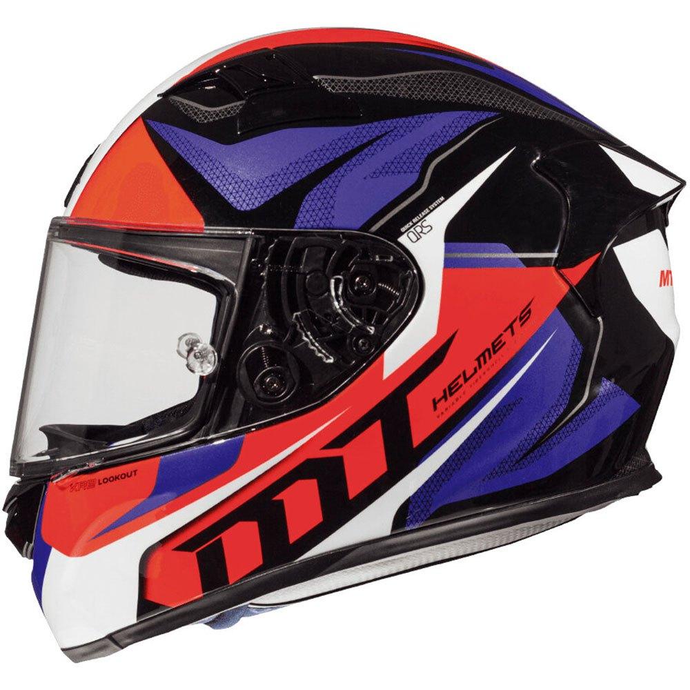 Integrální přilba na motorku MT Kre Lookout modro-černo-fluo červená