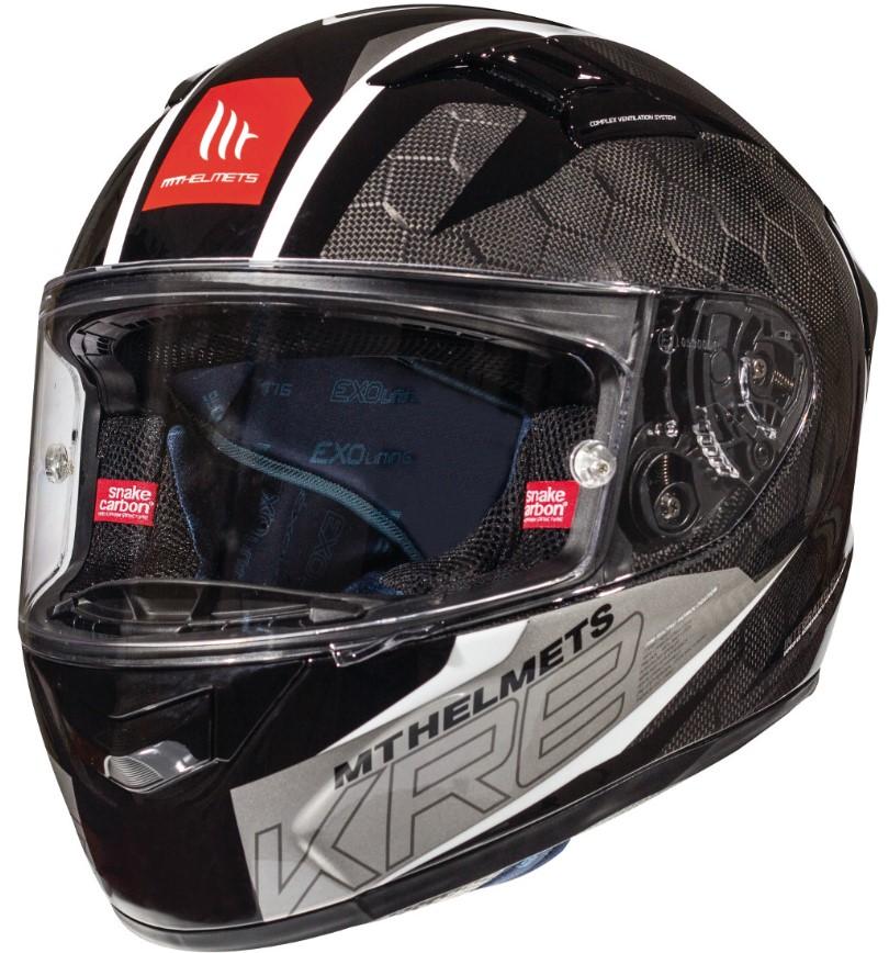 Integrální přilba na motorku MT Kre Snake Carbon 2.0 černo bílá
