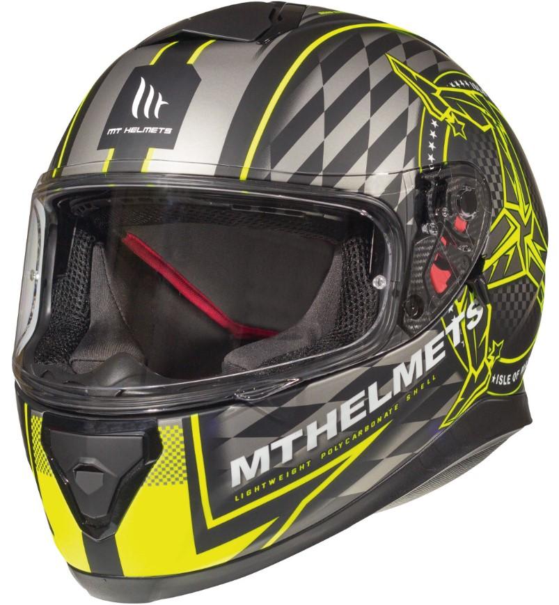Integrální přilba na motorku MT Thunder 3 SV Isle Of Man černo-šedo-fluo žlutá