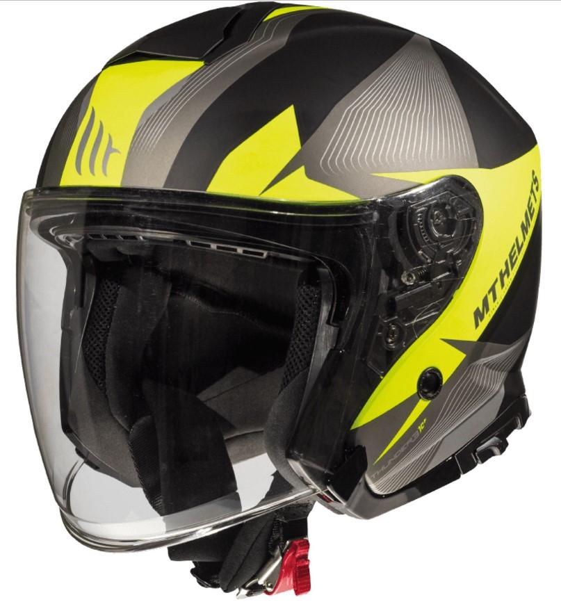 Otevřená přilba na motorku MT Thunder 3 SV Wing černo-šedo-fluo žlutá