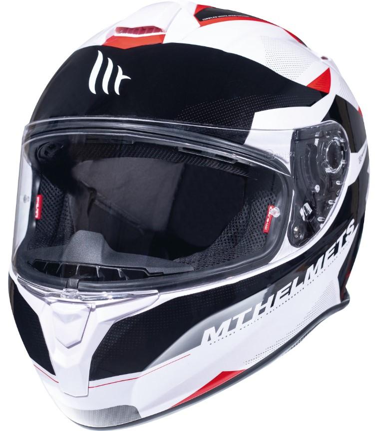 Integrální přilba na motorku MT Targo Enjoy černo-bílo-červená