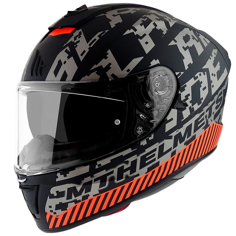Integrální přilba na motorku MT Blade 2 SV Check černo-šedo-oranžová