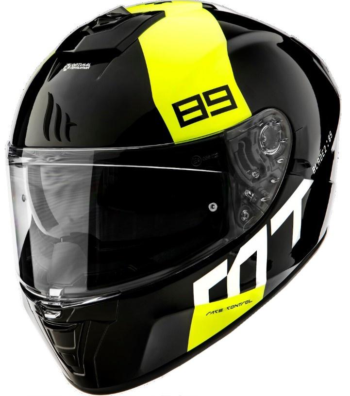 Integrální přilba na motorku MT Blade 2 SV 89 černo-bílo-fluo žlutá