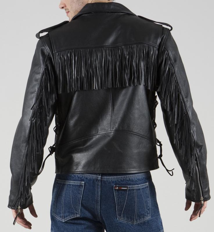 ... Kožená bunda na moto ForBikers Colorado s třásněmi vel 4XL d006adc3c50