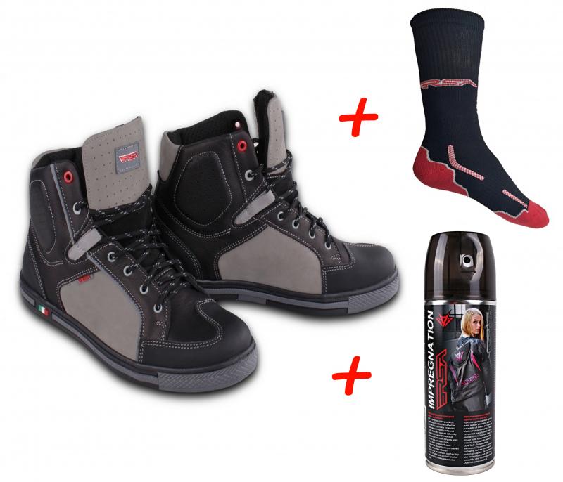 SET  Moto boty RSA TRA + Impregnace + funkční ponožky RSA Classic ... b01a50ca3a