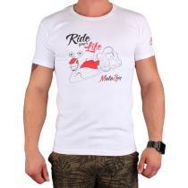 Triko s motivem Motozem Ride your life bílé c6e37c1169